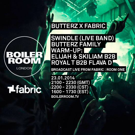 Boiler Room: Fabriclive x Butterz Takeover Flyer Image