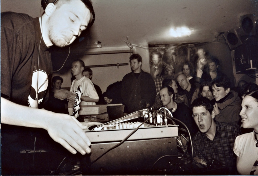Squarepusher playing at Ninja Tune's Stealth residency at the Blue Note — a young Benji B and Aphex Twin look on.