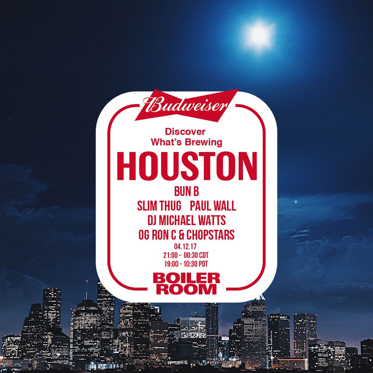 Boiler Room x Budweiser: Houston Flyer Image